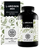 NATURE LOVE® L-Arginin - 365 vegane Kapseln - Hochdosiert: 4500mg L-Arginin HCL (=3750mg reines...