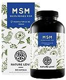 NATURE LOVE® MSM Kapseln - 365 Kapseln (6 Monate). Laborgeprüft. 1600mg MSM Pulver je Tagesdosis....