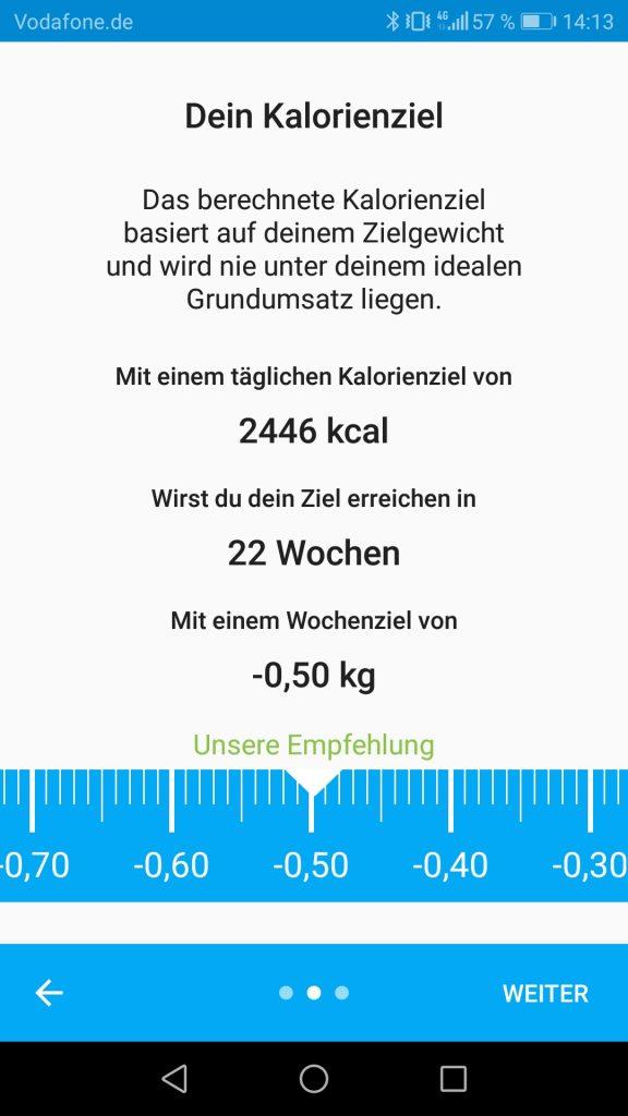 In der Yazio App das Kalorienziel festlegen