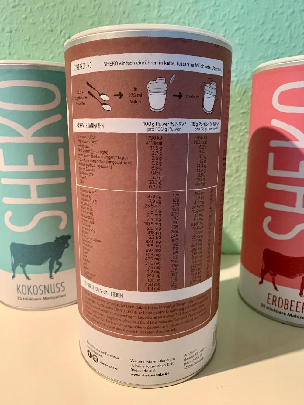 Sheko Shake Inhaltsstoffe