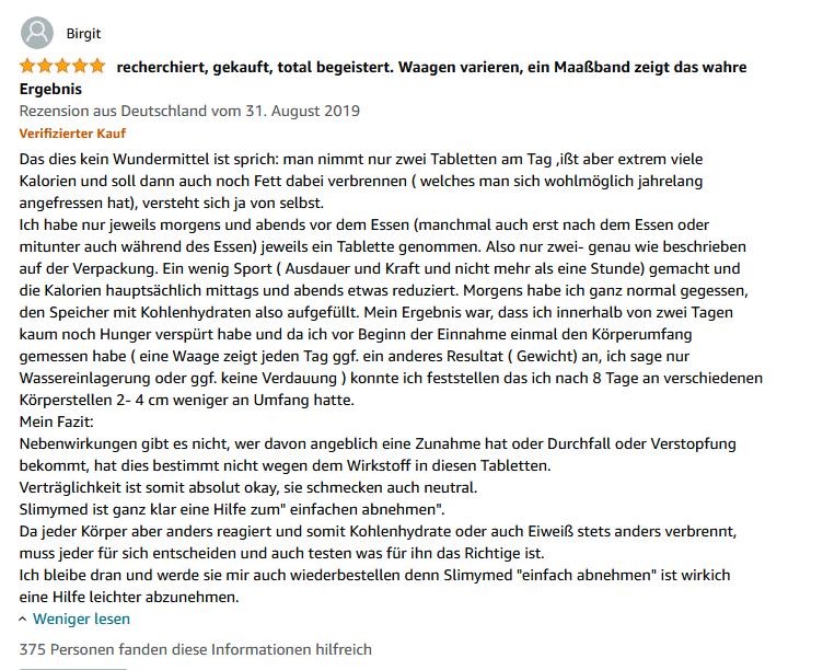 Slimymed Erfahrungen auf Amazon